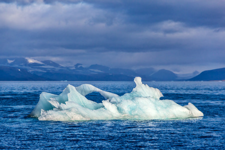 the arctic ocean: The iceberg floats in a bay Bear on Northern island of archipelago Novaya Zemlya at Arctic ocean Stock Photo
