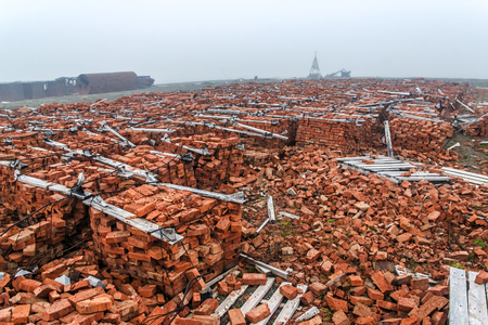 desolation: The thrown building materials on Menshikovs headland in the south of Novaya Zemlya