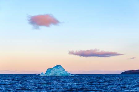El iceberg flota en un oso de Bahía en la isla del Norte del archipiélago de Nueva Zembla en el océano Ártico