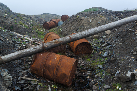 abandonment: Flanks from under the gasoline, scattered on Menshikovs headland in the south of Novaya Zemlya