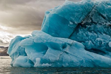waterscape: The iceberg floats in a bay Bear on Northern island of archipelago Novaya Zemlya at Arctic ocean Stock Photo