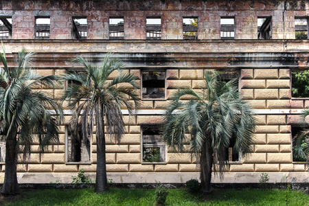 sukhumi: Old dilapidated building of parliament of Abkhazia in Sukhumi