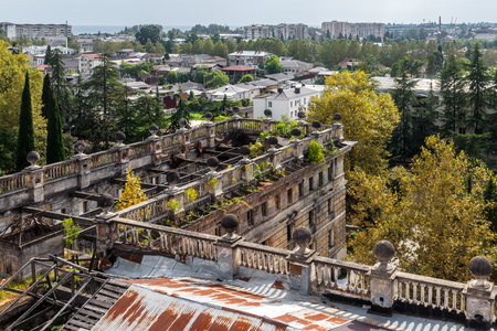 sukhumi: Kind to Sukhumi from a dilapidated building of parliament of Abkhazia Stock Photo