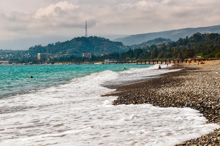 sukhumi: Beach Sinop arranged in capital of Abkhazia by Sukhumi in a southern part of a city.