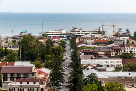 sukhumi: Kind to Sukhumi from a dilapidated building of parliament of Abkhazia Editorial