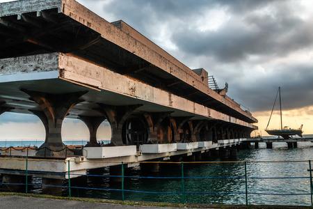 sukhumi: Marina building in capital of Abkhazia Sukhumi Stock Photo