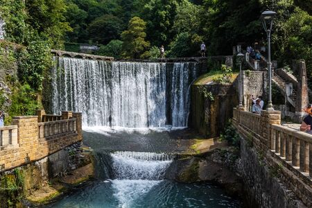 beauty fountain: It is artificial the created ancient new-Athos falls