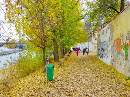 Kampa Island in autumn, Prague,