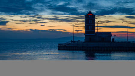 Lighthouse in the Baikal harbor. Located on the banks of the mouth of the Turka River. Stock fotó