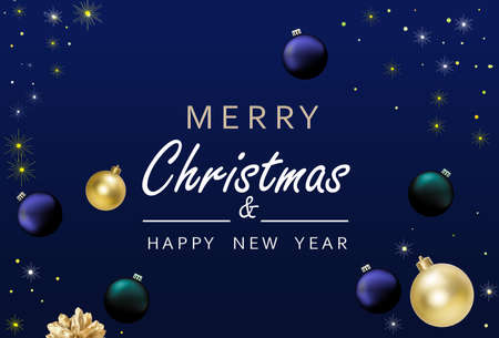 Minimal Christmas Background. Festive design of sparkling lights blue garland, balls baubles, gold snowflakes. Xmas horizontal poster, banner, greeting cards, header website.