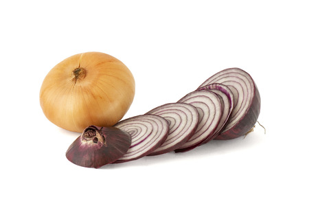 Ringed red onion and pot-bellied onion bulb on white background
