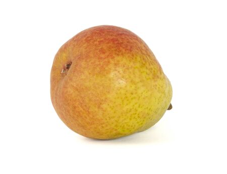 Ripe fragrant pear yellow rear view on white background