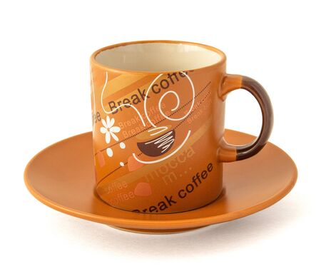 Coffee mug brick color with the inscription coffee break and saucer on a white background