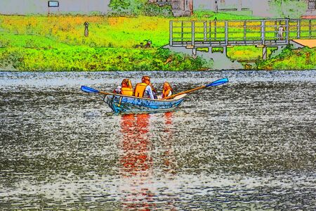A large family resting on the pond of the river riding on a rowing boat number one Banco de Imagens
