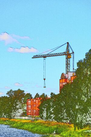 Industrial crane building a residential multi-storey brick house on the shore of a beautiful pond 版權商用圖片