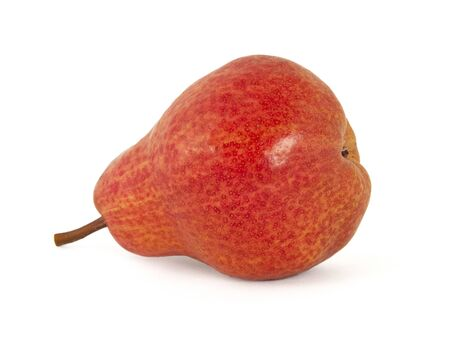 The fruit is ripe ripe juicy fragrant appetizing ripe yellow and red from the sun sweet pear on white background