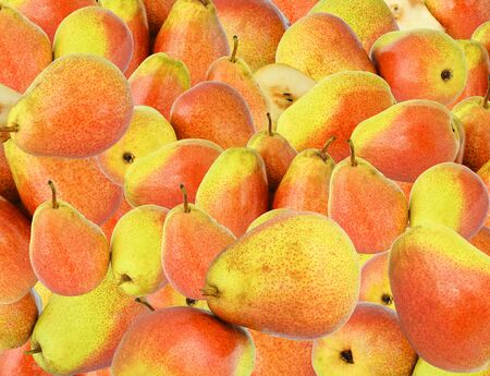 Yellow red speckled pears collected in a cute and attractive background for designers