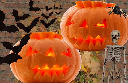 By Halloween, two pumpkins with glowing eyes with a flock of bats flying away with a black harmful spider and a creepy skeleton on a brick background