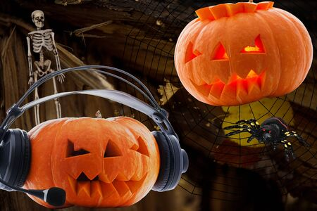 Two pumpkins for Halloween with burning and no eyes in the headphones and without with a scary skeleton insidious spider on an abstract background