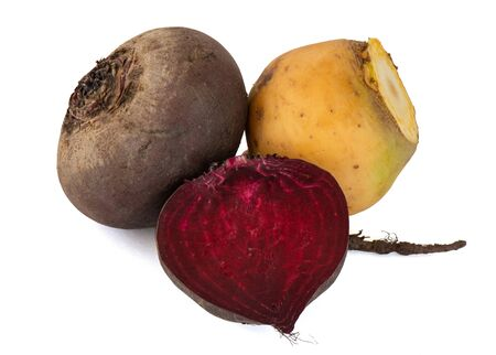 Set of fresh vegetables beets turnips with tails for salads snacks delicious hearty borscht and other healthy dishes on a white background 版權商用圖片