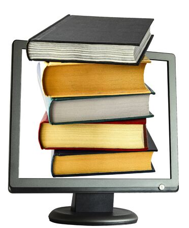 A large stack of educational books to read on cyber Monday the day of online sales on the Internet from various sites on a white background