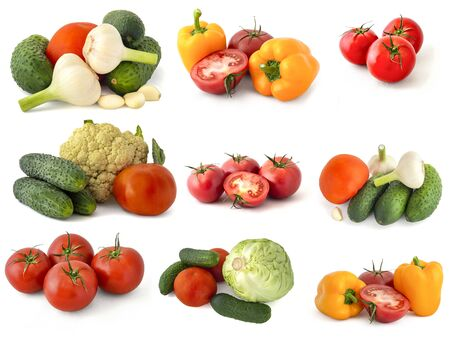 Yellow Bell peppers red tomatoes cucumbers onions garlic cabbage broccoli and all isolated on a white background 版權商用圖片