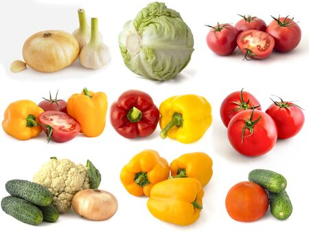 Cabbage broccoli green zucchini Bell peppers red tomatoes cucumbers onions garlic hot chili peppers and everything is isolated on a white background