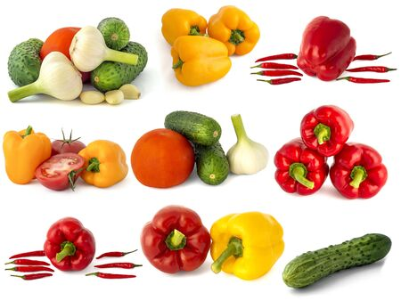 Bell peppers red tomatoes cucumbers onions garlic cabbage broccoli hot chili peppers and everything is isolated on a white background