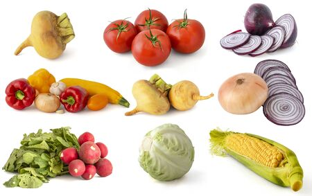 Red onion garlic zucchini cabbage cabbage corn turnip cucumbers tomatoes peppers from the autumn harvest on a white background