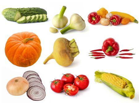 Red beets onions tomatoes peppers radishes hot garlic eggplant turnip fragrant cucumber pumpkin cabbage and corn cob on a white background