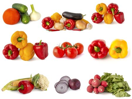 New crop of agricultural products from cabbage broccoli eggplant zucchini peppers beets turnips cucumbers tomatoes radishes hot onions and garlic on a white background
