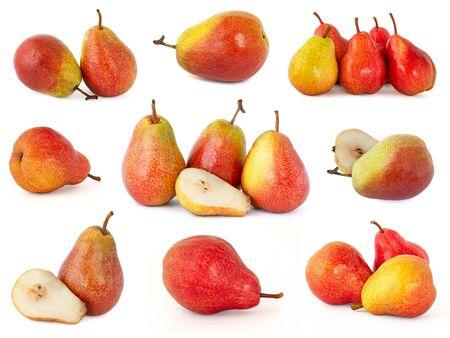 Various options for selecting and shooting pink and yellow barrels of Trout pears isolated on a white background of fragrant delicious and ripe fruit