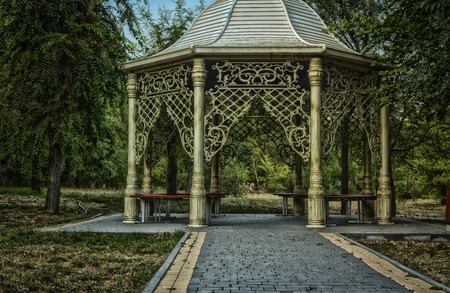 gazebo in the Park,beautiful gazebo,the road leading to the gazebo Stock Photo