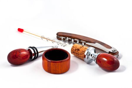 Luxury accessories for wine from mahogany photo