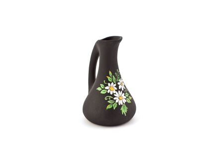 Black Vase With Flower Drawing On A White Background Stock Photo