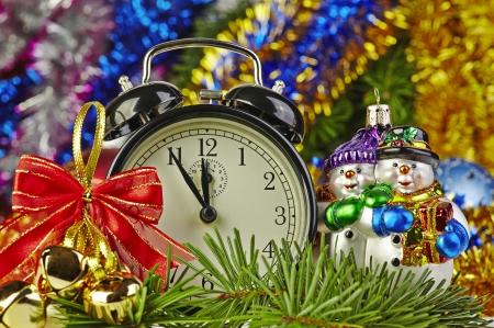 Christmas decoration and clock photo
