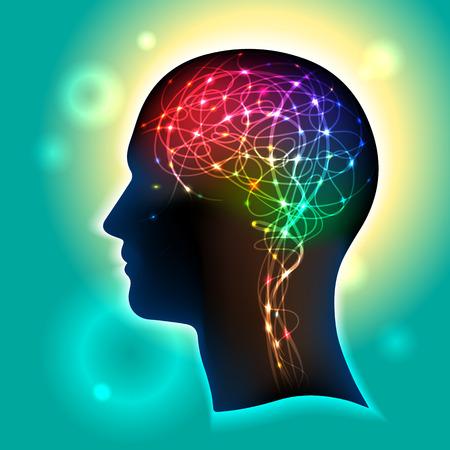 impulse: Profil eines menschlichen Kopfes mit einem bunten Symbol der Nervenzellen im Gehirn Illustration