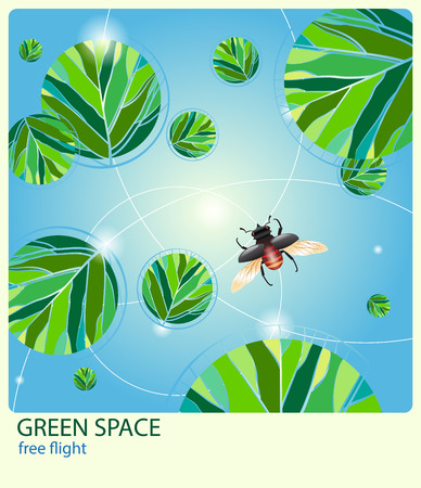 non   urban scene: beetle flies around the round green leaves against the blue sky