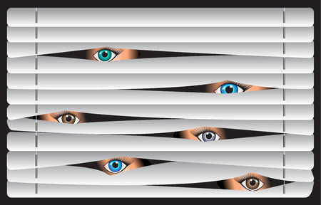 blinds: eyes of the beholder, spying, watching through the blinds Illustration