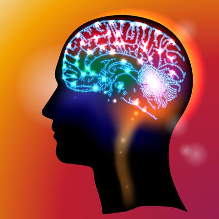 enfermedades mentales: Perfil de una cabeza humana con un símbolo colorido de las neuronas en el cerebro