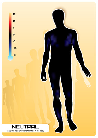 expressing negativity: Profile of a human figure. Visual representation of emotions. Mapping How Emotions Manifest in the Body. Illustration