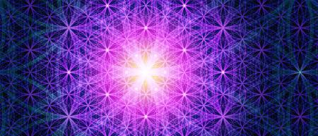 mértan: Szimbólumok a szent geometria ábrázolhat alapvető szempontjait térben és időben. Háttér virág az élet jelképe változatok.