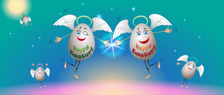 easter sign: Happy Easter sign theme. Illustration of happy family eggs and envelope format. Illustration