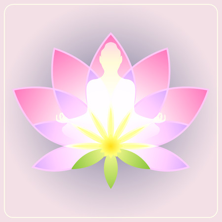 chakra energy: Lotus flower with the silhouette meditating figure