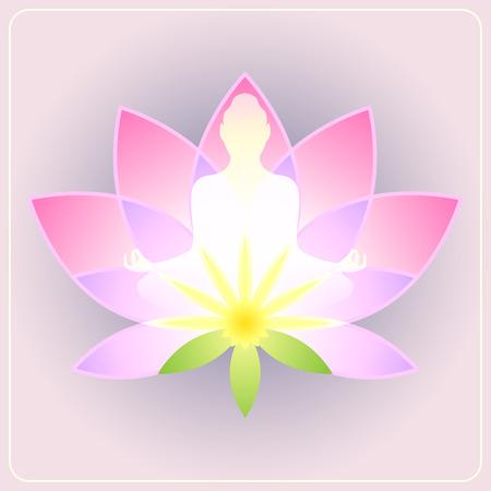 buddha lotus: Lotus flower with the silhouette meditating figure