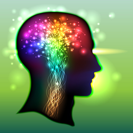 sistema nervioso: Perfil de una cabeza humana con un símbolo colorido de las neuronas en el cerebro