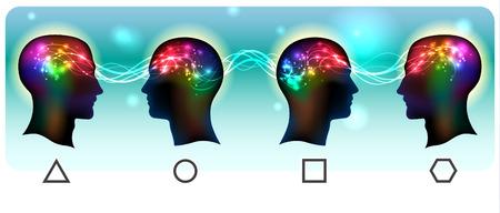 enfermedades mentales: Perfil de una cabeza humana con un símbolo colorido de las neuronas y las ondas mentales en el cerebro