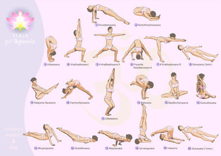 asanas: General set of exercises common exercise program yoga complex for beginners-3 day
