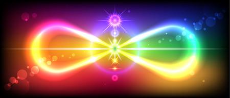 Symbol oder Zeichen der Unendlichkeit mit dem Bild der Chakren auf der schönen, bunten Hintergrund Vektorgrafik
