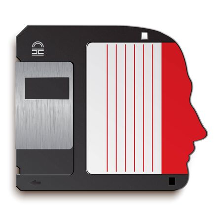 repository: A symbol of human head in the form of a floppy disk Illustration